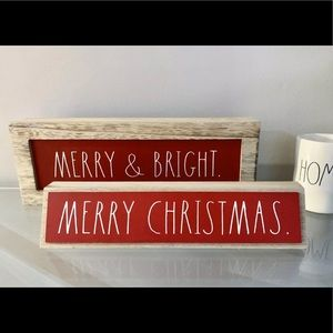 Rae Dunn LL Red Wood Christmas Signs 2